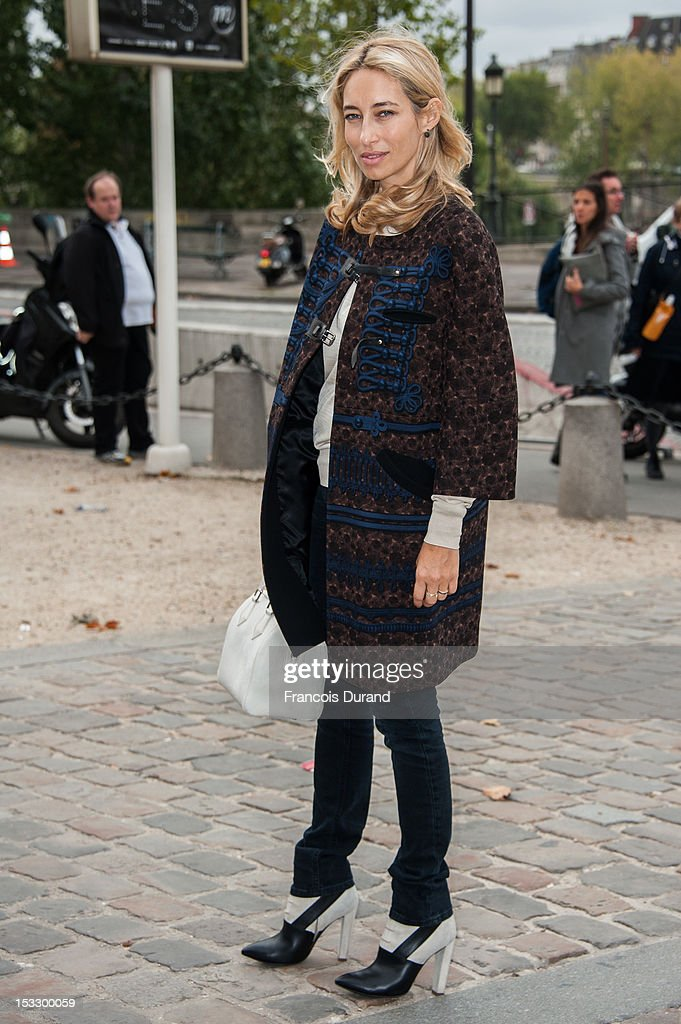 Alexandra Golovanoff arrives at the Louis Vuitton Spring/Summer 2013 show as part of Paris Fashion Week on October 3, 2012 in Paris, France.