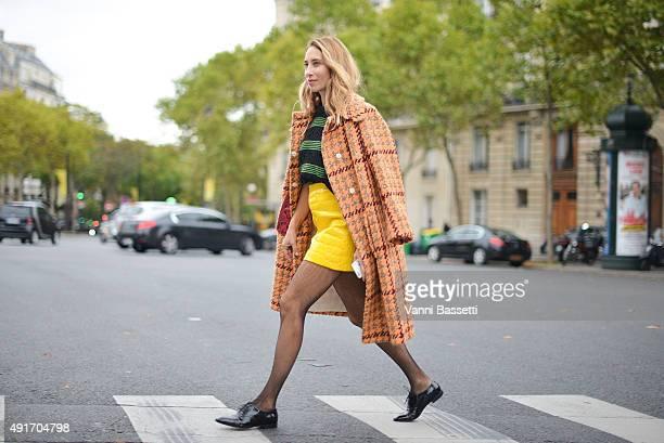 Alexandra Golovanoff leaves wearing Miu Miu after the Miu Miu show at the Palais de Iena during Paris Fashion Week SS16 on October 7 2015 in Paris...