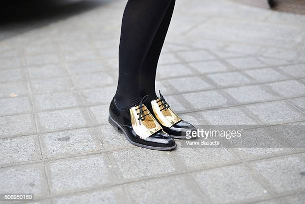 Alexandra Golovanoff poses wearing Celine shoes before Bouchra Jarrar show during Haute Couture on January 26 2016 in Paris France