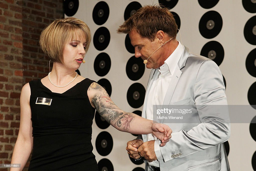 Alexandra Hesse (Wallpaper Designer) and <a gi-track='captionPersonalityLinkClicked' href=/galleries/search?phrase=Dieter+Bohlen&family=editorial&specificpeople=801168 ng-click='$event.stopPropagation()'>Dieter Bohlen</a> attend the <a gi-track='captionPersonalityLinkClicked' href=/galleries/search?phrase=Dieter+Bohlen&family=editorial&specificpeople=801168 ng-click='$event.stopPropagation()'>Dieter Bohlen</a> Wallpaper Collection presentation of P&S International at Balloni Halls on December 19, 2012 in Cologne, Germany.