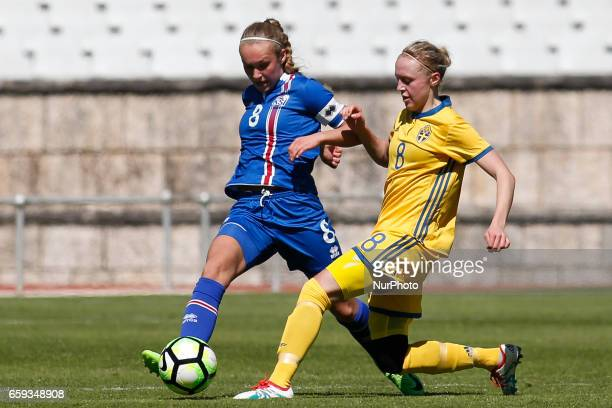 Alexandra Jhannsdttir of Iceland and Olivia Wanglun of Sweden during the UEFA U17 Women's Championship Qualifier match between Iceland and Sweden at...