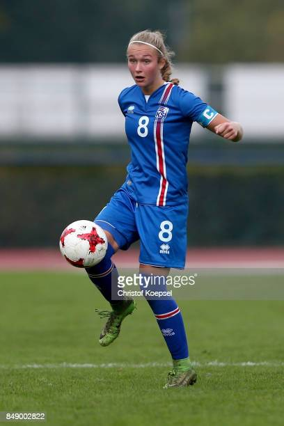 Alexandra Johannesdottir of Iceland runs with the ball during the UEFA Under19 Women's Euro Qualifier match between Germany and Iceland at Stadium...