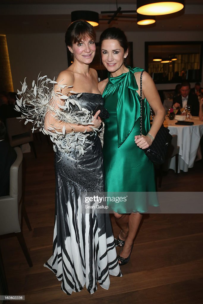 Alexandra Kamp (L) and Mariella Ahrens attend the grand opening of the Waldorf Astoria Berlin hotel on February 27, 2013 in Berlin, Germany.