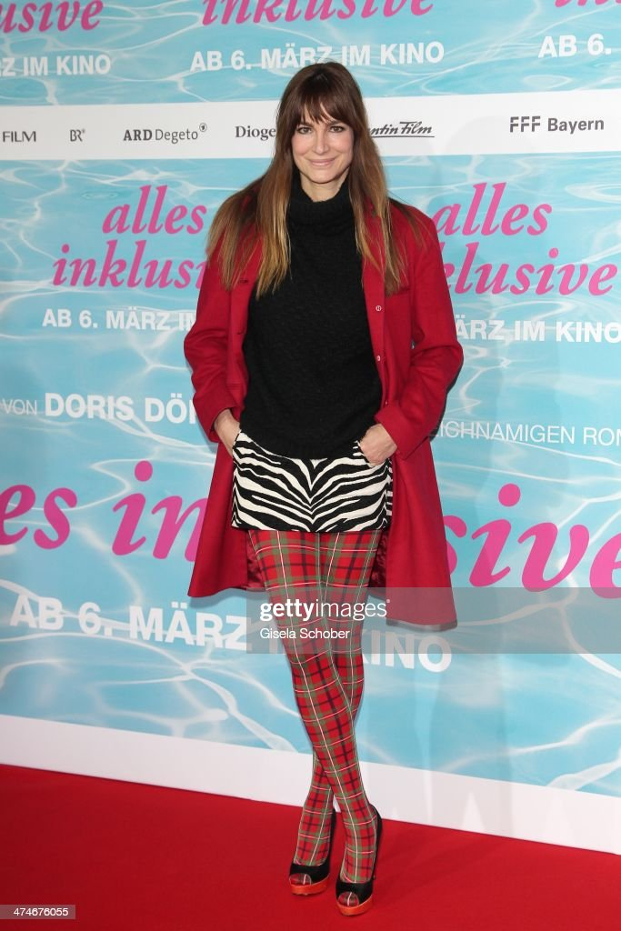 Alexandra Kamp attends the German premiere of the film 'Alles Inklusive' at Mathaeser Filmpalast on February 24, 2014 in Munich, Germany.