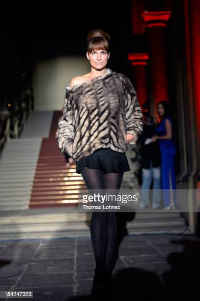 Alexandra Kamp presents 'Minx' fashon during the celebrity fashion at the Minx fashion night at Residenz on October 12 2013 in Wuerzburg Germany The...