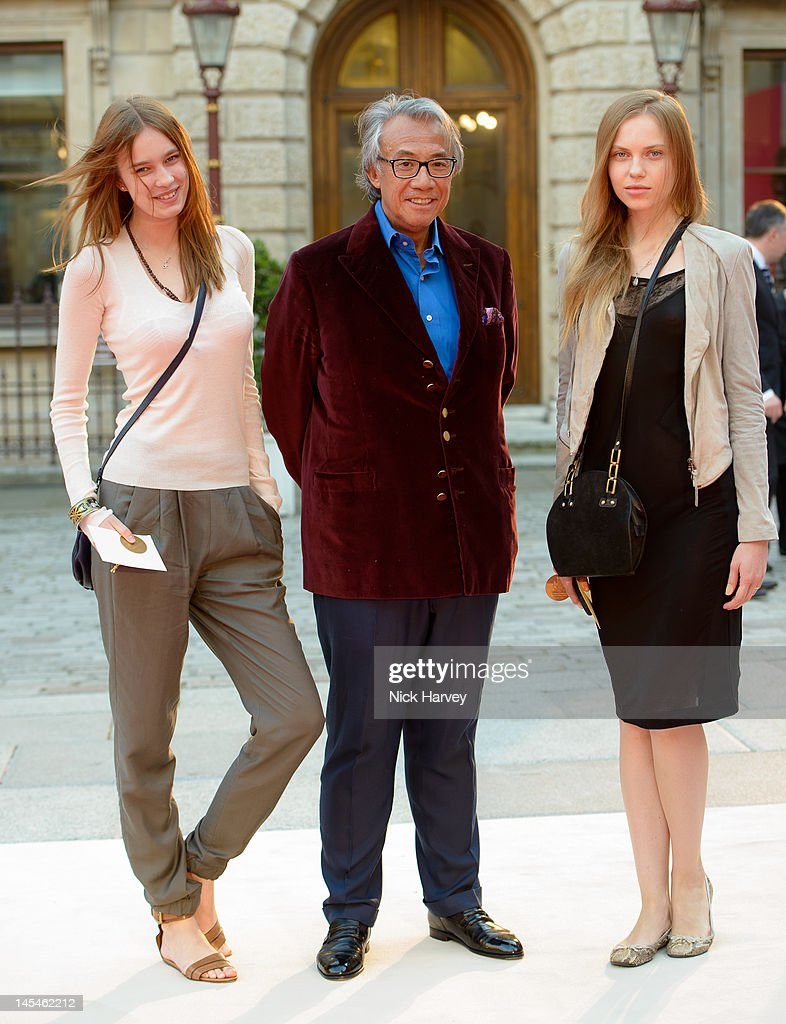 Alexandra Karpova, Sir David Tang and Victoria S attend the private VIP view of Royal Academy Summer Exhibition 2012 at Royal Academy of Arts on May 30, 2012 in London, England.
