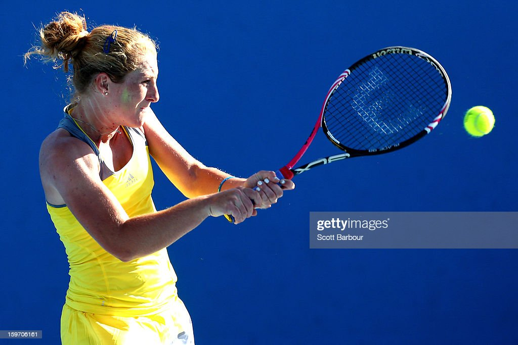 Alexandra Kiick of the United States plays a forehand in her first round match against Deborah Chiesa of Italy during the 2013 Australian Open Junior Championships at Melbourne Park on January 19, 2013 in Melbourne, Australia.