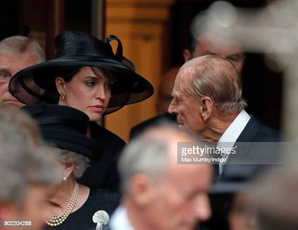 Alexandra Knatchbull and Prince Philip Duke of Edinburgh attend the funeral of Patricia Knatchbull Countess Mountbatten of Burma at St Paul's Church...