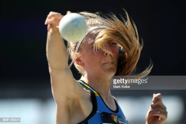 Alexandra Krope of the ACT competes in the shot put of the womens under 15s Heptathlon on day two of the 2017 Australian Athletics Championships at...