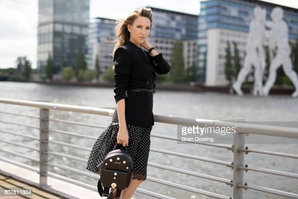 Alexandra Lapp poses at the Marc Cain street style shooting during MercedesBenz Fashion Week Berlin Spring/Summer 2018 on July 4 2017 in Berlin...