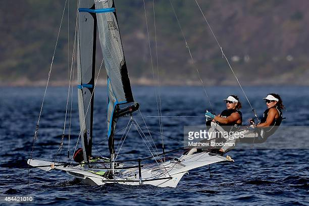 Alexandra Maloney and Molly Meech of New Zealand sail in the women's 49er FX class on the Pao de Acucar course during the International Sailing...