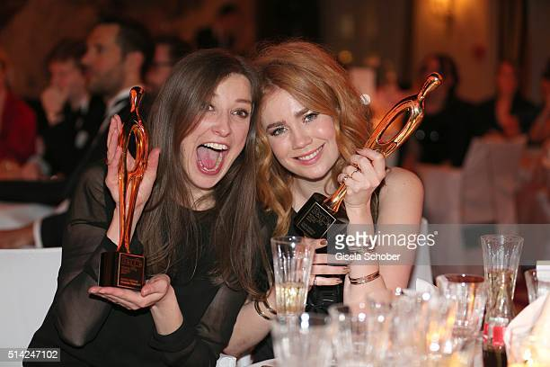 Alexandra Maria Lara and Palina Rojinski with award during the PEOPLE Style Awards at Hotel Vier Jahreszeiten on March 7 2016 in Munich Germany