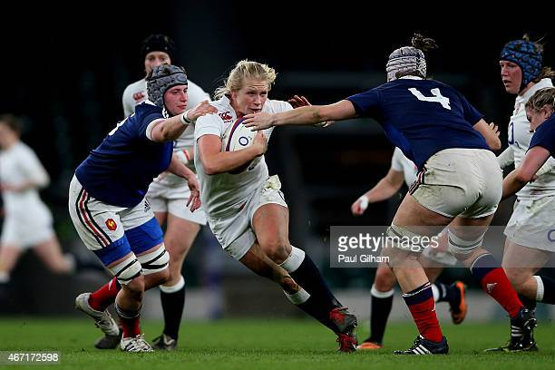 Alexandra Matthews charges upfield during the Women's Six Nations match between England and France at Twickenham Stadium on March 21 2015 in London...