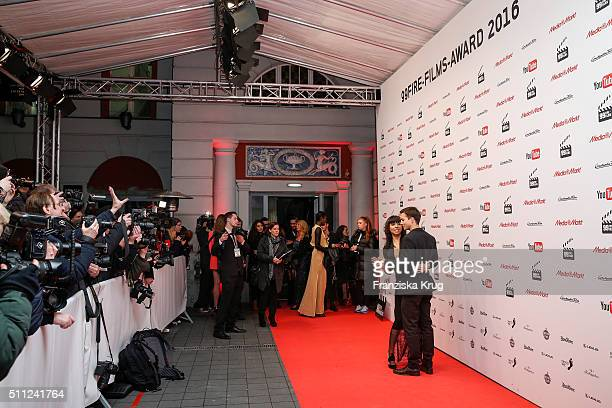 Alexandra Maurer and Tim Oliver Schultz attend the 99FireFilmAward 2016 at Admiralspalast on February 18 2016 in Berlin Germany