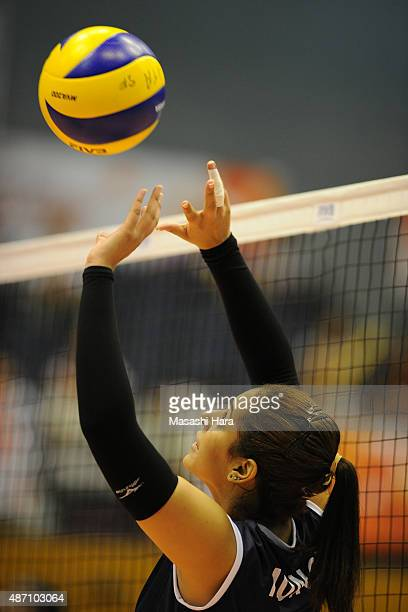 Alexandra Munoz of Peru tosses in warm up prior to the match between Kenya and Peru during the FIVB Women's Volleyball World Cup Japan 2015 at Park...