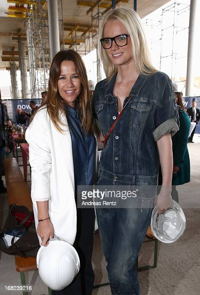 Alexandra Neldel and Franziska Knuppe attend roofing ceremony at BMW new Berlin location at BMW Niederlassung Berlin on May 7 2013 in Berlin Germany