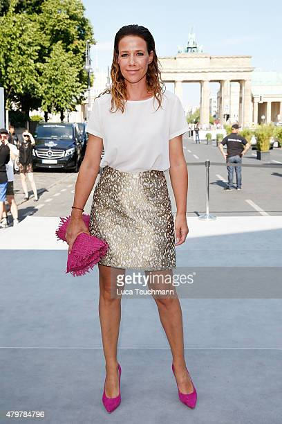 Alexandra Neldel attends the Marc Cain show during the MercedesBenz Fashion Week Berlin Spring/Summer 2016 at Brandenburg Gate on July 7 2015 in...