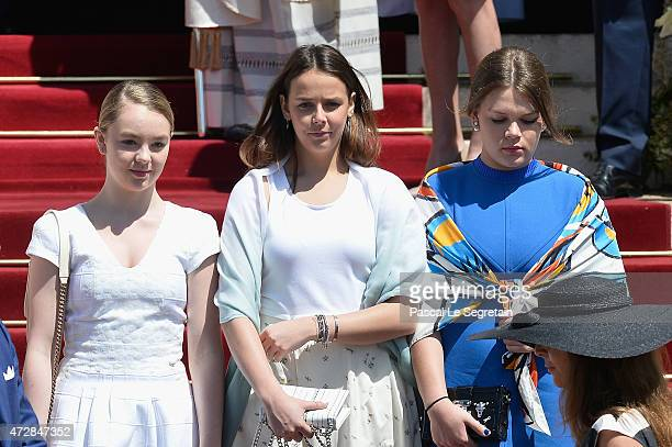 Alexandra of Hanover Pauline Ducruet and Camille Gottlieb attend The Baptism Of The Princely Children at The Monaco Cathedral on May 10 2015 in...