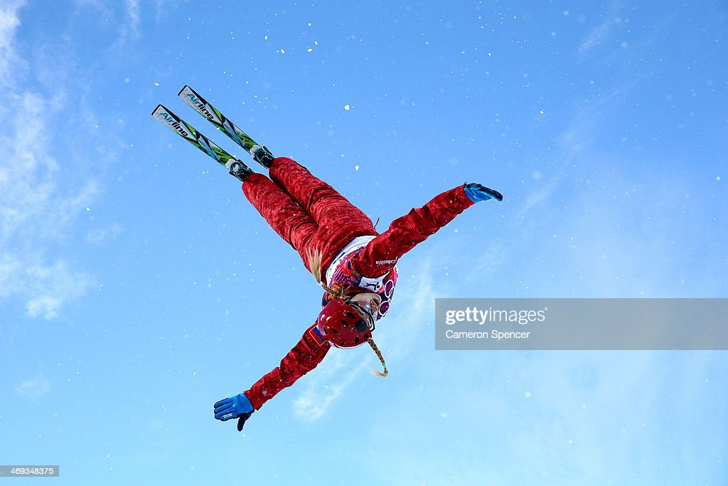 Alexandra Orlova of Russia practices before the Freestyle Skiing Ladies' Aerials Qualification on day seven of the Sochi 2014 Winter Olympics at Rosa Khutor Extreme Park on February 14, 2014 in Sochi, Russia.