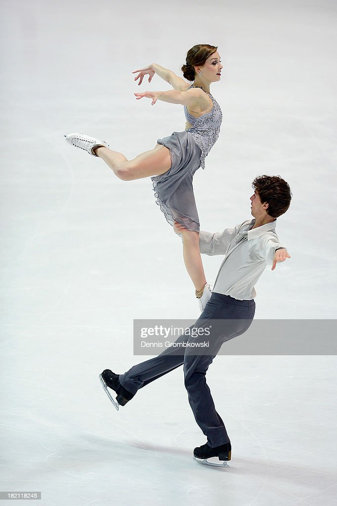 Alexandra Paul and Mitchell Islam of Canada compete in the Ice Dance Free Dance competition during day three of the ISU Nebelhorn Trophy at Eissportzentrum Oberstdorf on September 28, 2013 in Oberstdorf, Germany.