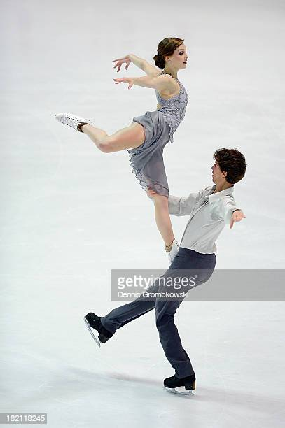 Alexandra Paul and Mitchell Islam of Canada compete in the Ice Dance Free Dance competition during day three of the ISU Nebelhorn Trophy at...