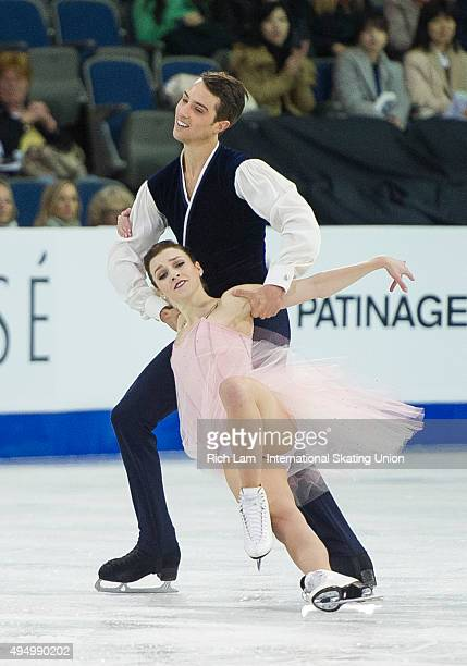 Alexandra Paul and Mitchell Islam of Canada skates during the Ice Dance Short Dance on day one of Skate Canada International ISU Grand Prix of Figure...