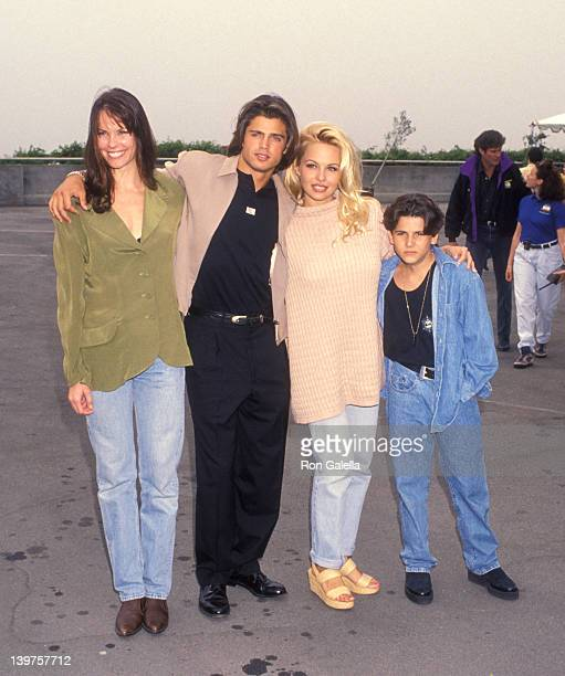 Alexandra Paul David Charvet Pamela Anderson and Jeremy Jackson attend the opening of Behind The Scenes Look Of 'Baywatch' on April 17 1993 at the...