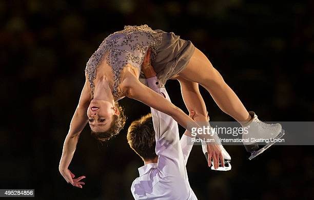 Alexandra Paul of Canada is lifted by her partner Mitchell Islam during the Exhibition Gala on day three of Skate Canada International ISU Grand Prix...