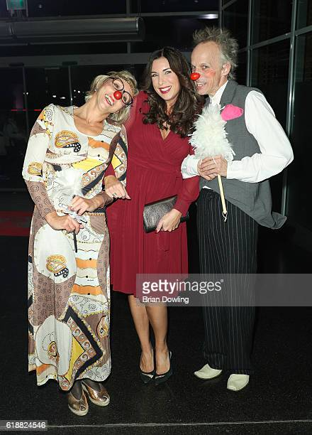 Alexandra Polzin and clowns from Leon Heart Foundation for KIDS arrives at China Club on October 28 2016 in Berlin Germany