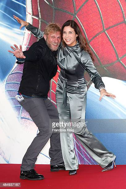 Alexandra Polzin and her husband Gerhard Leinauer attend the 'The Amazing SpiderMan 2 Rise Of Electro' Berlin Premiere at Sony Center on April 15...