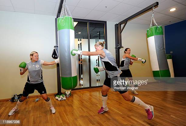 Alexandra Popp boxes during a Germany training session at Fitness First club on June 13 2011 in Frankfurt am Main Germany