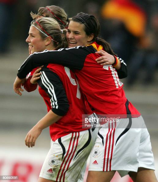 Alexandra Popp Dzsenifer Marozsan and Svenja Huth of Germany celebrate after the Women's U17 Euro qualifier match between Germany and Sweden at the...