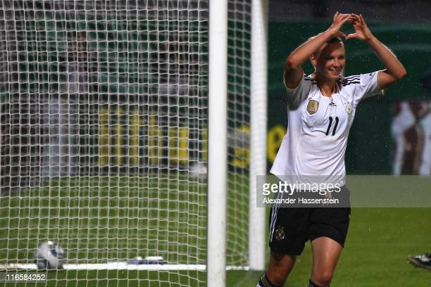 Alexandra Popp of Germany celebrates scoring the 2nd team goal during the women's international friendly match between Germany and Norway at Bruchweg...