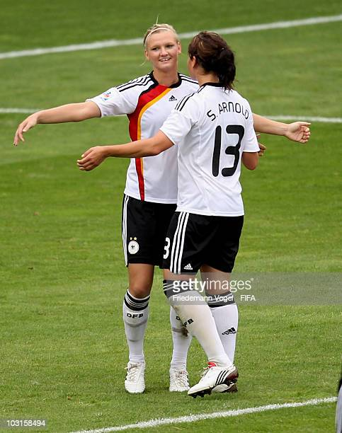 Alexandra Popp of Germany celebrates scoring the fifth goal with Sylvia Arnold during the FIFA U20 Women's World Cup Semi Final match between Germany...