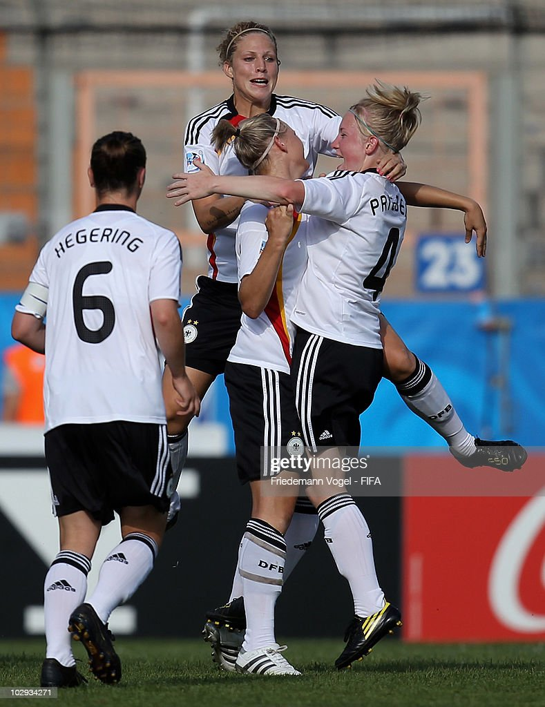 Alexandra Popp (C) of Germany celebrates scoring the first goal during the FIFA U20 Women's World Cup Group A match between Germany and Colombia at the FIFA U-20 Women's Worl Cup stadium on July 16, 2010 in Bochum, Germany.