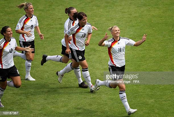 Alexandra Popp of Germany celebrates scoring the first goal with her team during the FIFA U20 Women's World Cup Final match between Germany and...