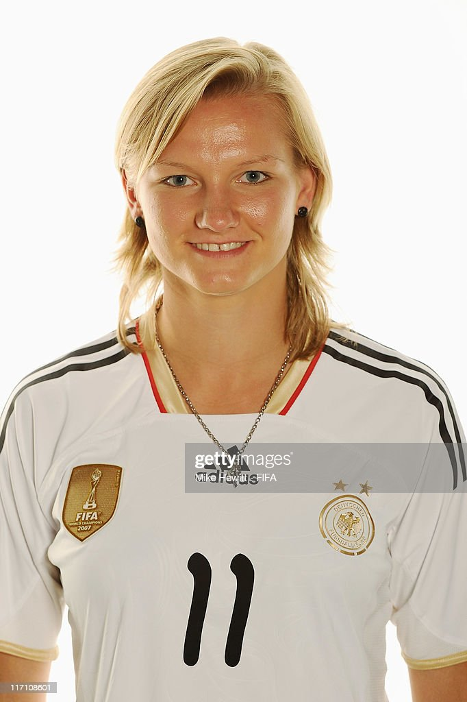 Alexandra Popp of Germany poses during the FIFA portrait session on June 22, 2011 in Berlin, Germany.