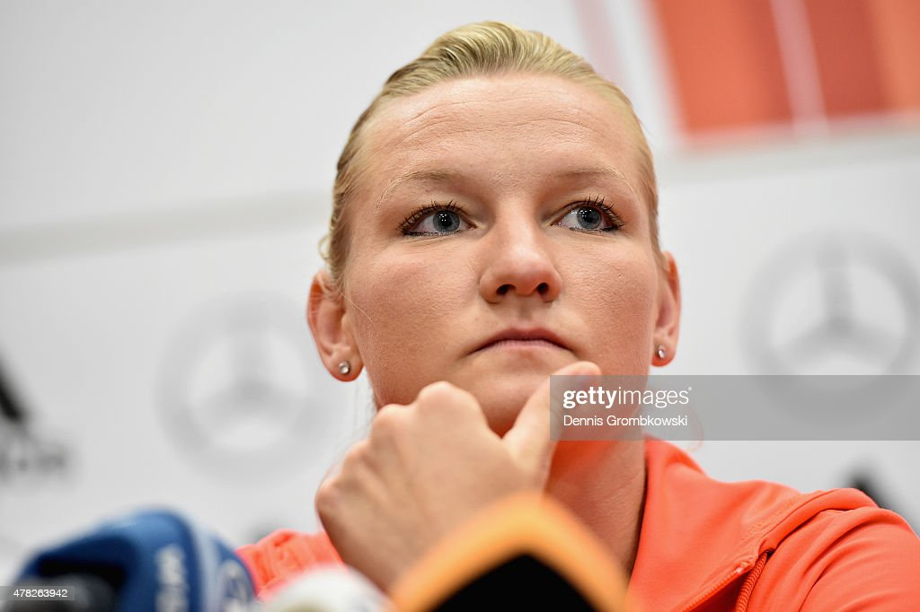 Alexandra Popp of Germany reacts during a press conference at Montreal Convention Centre on June 24, 2015 in Montreal, Canada.