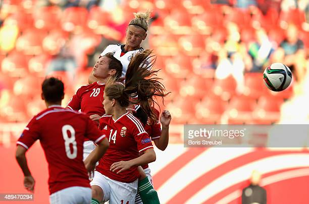 Alexandra Popp of Germany scores a goal with a header during the UEFA Women's Euro 2017 Qualifier between Germany and Hungary at Erdgas Sportpark on...