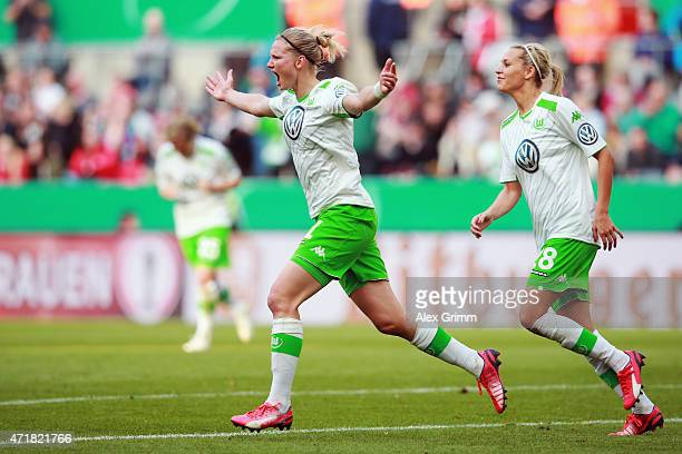 Alexandra Popp of Wolfsburg celebrates her team's third goal during the Women's DFB Cup Final between Turbine Potsdam and VfL Wolfsburg at...