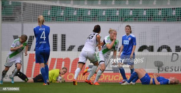 Alexandra Popp of Wolfsburg celebrates scoring her goal during the UEFA Women's Champions League semi final second leg match between VfL Wolfsburg...
