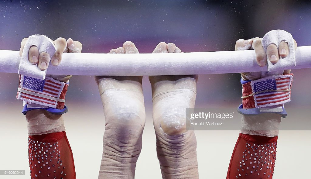 Alexandra Raisman competes on the uneven bars during day 2 of the 2016 U.S. Olympic Women's Gymnastics Team Trials at SAP Center on July 10, 2016 in San Jose, California.