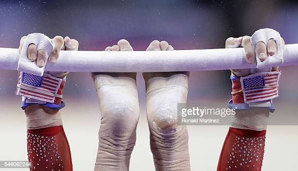 Alexandra Raisman competes on the uneven bars during day 2 of the 2016 US Olympic Women's Gymnastics Team Trials at SAP Center on July 10 2016 in San...