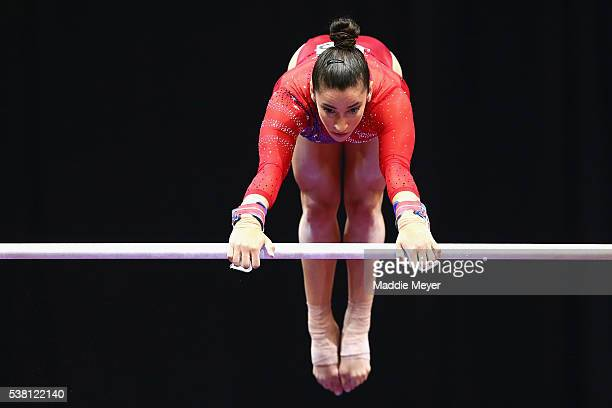 Alexandra Raisman competes on the uneven bars during the Sr Women's 2016 Secret US Classic at the XL Center on June 4 2016 in Hartford Connecticut