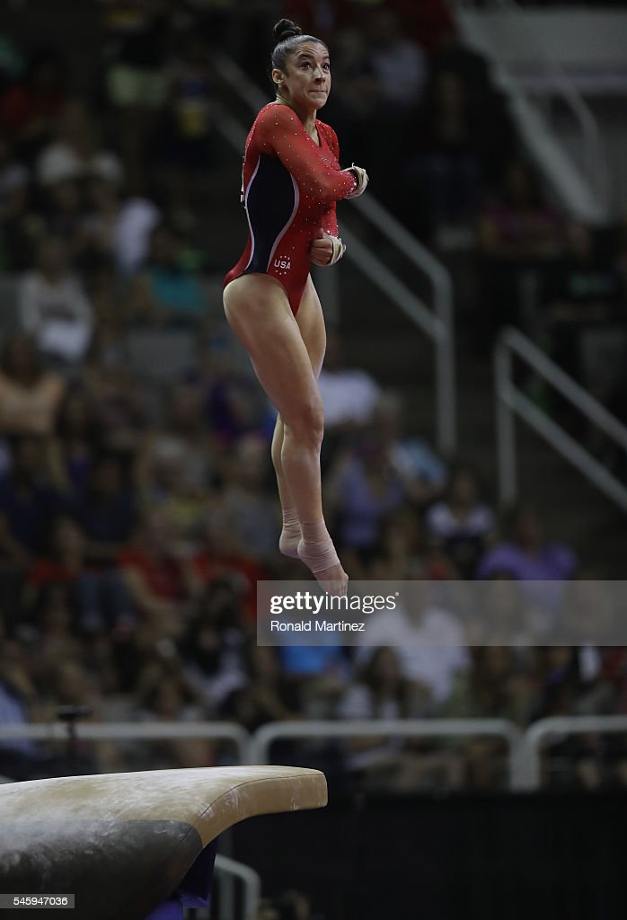 Alexandra Raisman competes on the vault during day 1 of the 2016 U.S. Olympic Women's Gymnastics Team Trials at SAP Center on July 8, 2016 in San Jose, California.