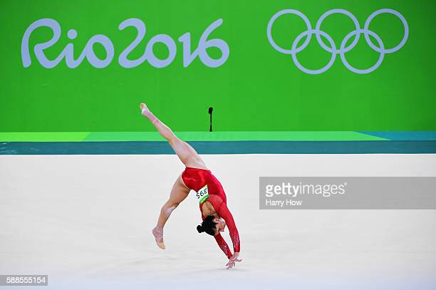 Alexandra Raisman of the United States competes on the floor during the Women's Individual All Around Final on Day 6 of the 2016 Rio Olympics at Rio...