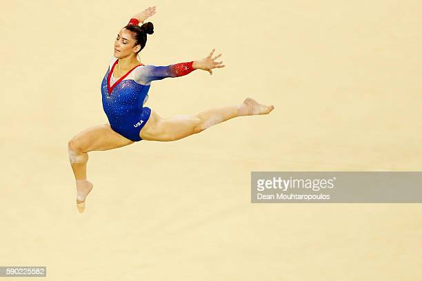 Alexandra Raisman of the United States competes on the Women's Floor final on Day 11 of the Rio 2016 Olympic Games at the Rio Olympic Arena on August...