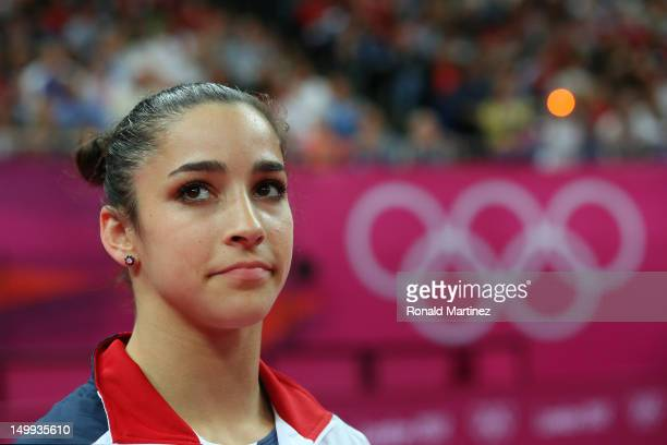 Alexandra Raisman of the United States looks on during the Artistic Gymnastics Women's Floor Exercise final on Day 11 of the London 2012 Olympic...