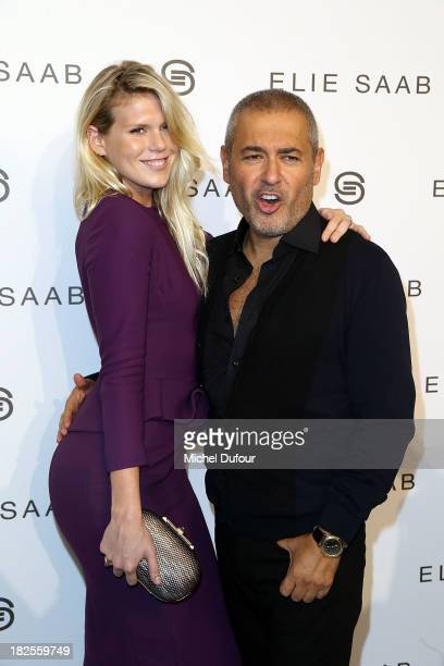 Alexandra Richards and Elie Saab attend the Elie Saab show as part of the Paris Fashion Week Womenswear Spring/Summer 2014 on September 30 2013 in...