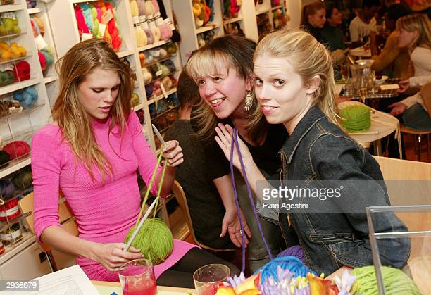 Alexandra Richards Knit New York owner Miriam Maltagliati and Theodora Richards attend a knitting party hosted by IMG Models at Knit February 5 2004...